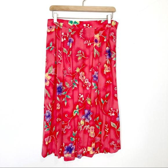 Vintage Dresses & Skirts - Vintage floral midi skirt coral red cottagecore